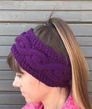 Purple Knit Wide Wool Headband, Nana gift