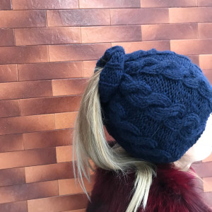 Messy bun navy blue beanie,  cable knit hat