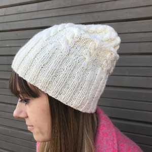 Slouchy cable knit hat, white chunky knit hat, Christmas gift for sister