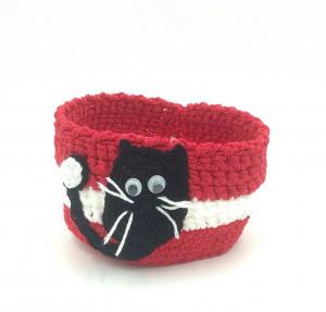 Crochet round storage decorative basket with black cat decor