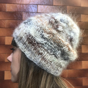 FREE SHIPPING. Multicolor beige cable knit hat, angora hat.