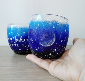 Stemless moon wine glasses for couple, hand paint starry night glasses, galaxy wine glasses