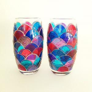 Hand painted mermaid drinking glasses set of 2 big glass tumblers, mermaid wine glasses set