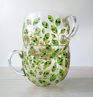 Floral mugs set of 2 big 17 oz cups for couple, painted green leaves mugs, gardening tea cup set, nature lover mugs, glass mugs set,