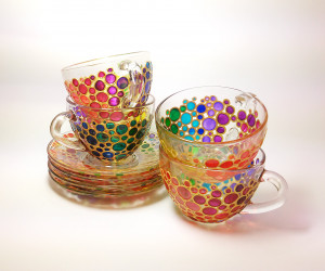 Rainbow tea cups & saucers set of 4 Painted glass cups with 4 saucers  Rainbow bubbles tea cup set