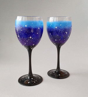 Hand painted Galaxy wine glasses set of 2, starry night cosmic lover gift, custom hand paint wine glasses