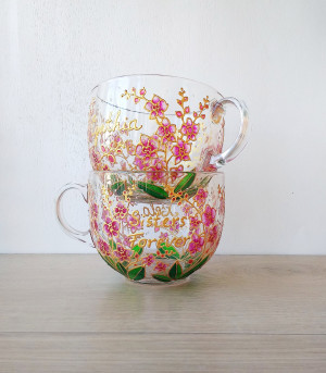 Pink orchids mugs set of 2 big 17 oz cups for couple, hand painted gardening tea cup set, nature lover mugs