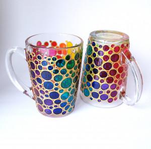 Mug set for couple, rainbow bubbles coffee mugs, funny coffee mugs, painted glass mugs, His and Hers mugs, colorful coffee cups