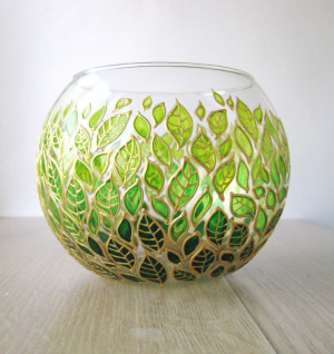 Floral glass planter pot Sphere vase Painted gradient green leaves candle holder modern planter pot succulent modern tabletop desk planter