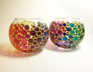 Rainbow candle holders set of 2 Painted glass vase set Glass sphere vase Tea light holder Bubbles design votive holders