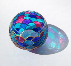 Mermaid candle holder vase Hand painted mermaid wedding vase Pink Blue Violet Teal sphere glass centerpiece vase