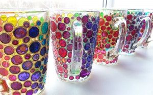 Family mug set of 4 glass cups, hand painted colorful coffee mugs, rainbow bubbles cups