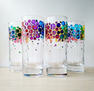 Rainbow drinking glasses set of 4 hand painted colored tumblers, water glasses set for family, custom personalized drinkware