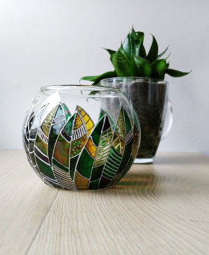 Modern green succulent planter pot, Sphere floral planter, Leaves modern planter