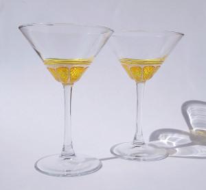 Hand painted lemon martini glasses set of 2, custom fruit cocktail glasses