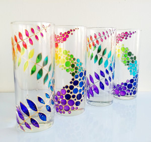Rainbow drinking glasses family set of 4 hand painted colored tumblers, rainbow bubbles & leaves water glasses set