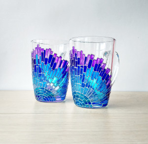 Mosaic mugs set of 2 blue cups for couple, painted unique glass couple mugs, blue gradient sun rays coffee cups set