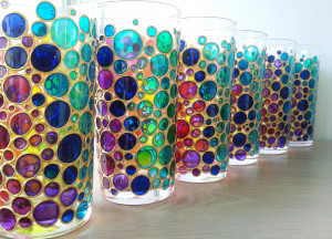 Rainbow drinking glasses set of 6 colored tumblers, hand paint water glasses with funny bubbles design