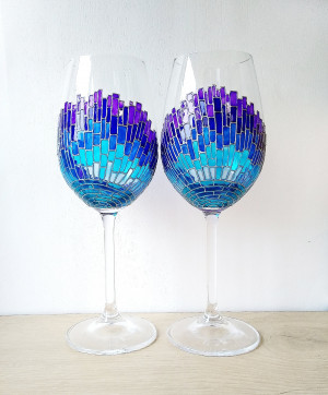 A couple of blue mosaic Sun rays wine glasses, hand painted wine glasses gift