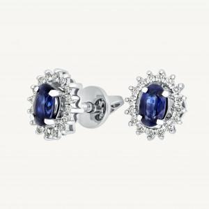 Sapphire Stud Earrings, Navy Blue Earrings, Halo Earrings, Bridal Stud Earrings, Screwback Earrings, Navy Stud Earrings