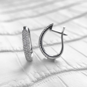 Huggie Hoop Earrings, Huggie Earrings, Diamond Hoop Earrings, White Gold Earrings, Pave Earrings, Statement Earrings, Birthday Gift For Her