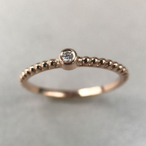 Tiny Diamond Ring, Thin Gold Ring, Simple Engagement Ring, Delicate Rose Gold Ring, Real Diamond Ring