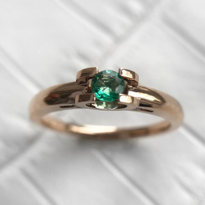 Natural Emerald Engagement Ring, 14K Rose Gold Emerald Promise Ring, Unique Gemstone Engagement Ring, May Birthstone Ring