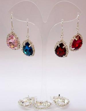 Set Red Earrings Bridesmaid Wine Jewelry Dark Red Bridal Jewelry Set Clear Crystal Earrings Set Rhinestone Set Wedding Bridesmaids Jewelry