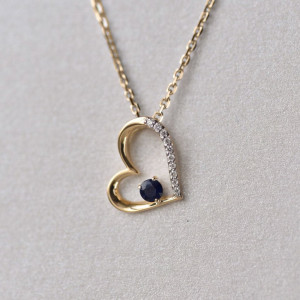 Dainty Sapphire Necklace, Solid Gold Heart Necklace, Rose Gold Long Necklace, Diamond Heart Pendant, Valentine's Day Gift
