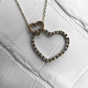 Mixed Metal Necklace, Rose Gold Necklace Dainty, Champagne Diamond Double Heart Necklace Open Heart Necklace, Layered Heart Pendant Necklace