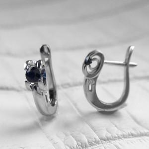 14K White Gold Sapphire Earrings, Navy Blue Sapphire Latch Back Earrings, Minimalist Solid Gold Sapphire Earrings, Dainty Diamond Earrings