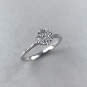 Floral Engagement Ring/Diamond Engagement Ring/ Diamond Daisy Ring/Gold Dainty Ring/Invisible Setting Round/Wedding rings /Black Friday Sale