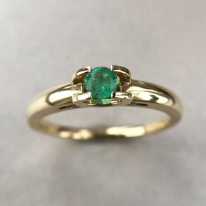 Natural Emerald Ring, Simple Engagement Ring, Genuine Emerald Gold Ring, Good Luck Ring