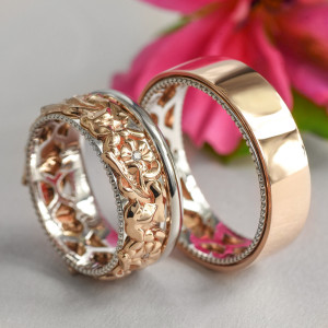 Men and woman wedding bands set, Rose gold wedding bands, Wedding sets rings his and hers, Art nouveau rings