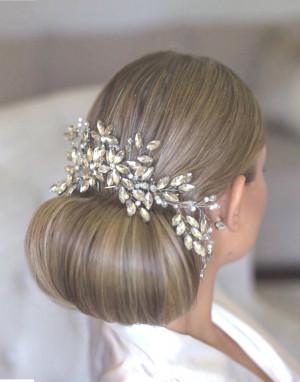 Bridal Hair Comb, Rhinestone Wedding Comb, Pearl Hair Accessory, Floral Hair Piece, Bridal Headpiece, Rhinestone Comb, Hair Jewelry,Hairvine