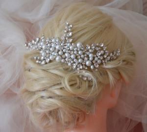 Bridal headpiece silver, wedding headpiece, silver crystal hair comb, Statement headpiece, Bridal hair accessories, wedding hairpiece, tiara