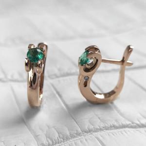 14K Rose Gold Emerald Earrings, Minimalist Emerald Gold Hoop Earrings, Simple Green Gemstone Earrings, Gift For Her