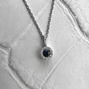 Round Blue Sapphire and Diamond Pendant, Round Sapphire Halo Pendant, Natural Blue Sapphire Pendant