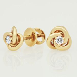 Knot Earrings, Small Diamond Earrings, Twist Earrings, Diamond Stud Earrings, Screw Back Earrings