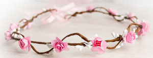 Flower Headband White Flower Crown flower girl headband Flower girl Valentines day Flower Wreath First Communion Headband Pink Flower Crown