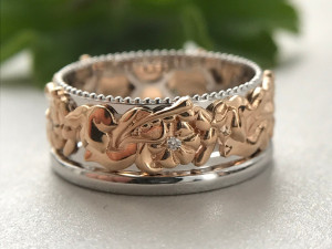 Art nouveau ring,  Rose gold wedding band women, Unique wedding band women, Artcarved Wedding Bands, Womens wedding band, Unique gift