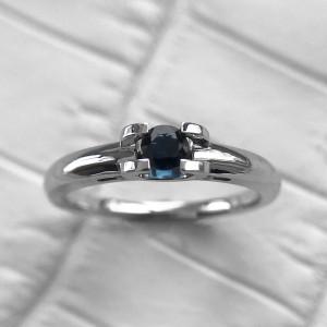 Natural Blue Sapphire Ring, Horseshoe Ring, Custom Engraved Ring, Alternative Engagement Ring