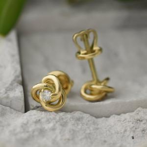 Gold Small Stud Earrings, Spiral Earrings, Celtic Earrings, Screw Back Earrings