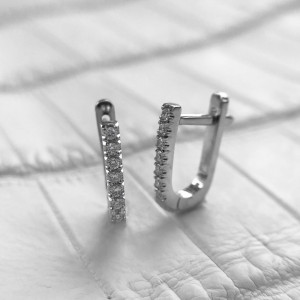 Tiny Hoop Earrings, Micro Diamond Pave Earrings,Minimalist Small Huggie Sleeper Earrings, 14K Gold Earrings
