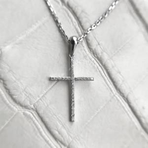 14K Gold Diamond Cross Pendant, Gift For Her, White Gold Diamond Cross, Cross Necklaces For Women, Solid Gold Cross Charm Necklace