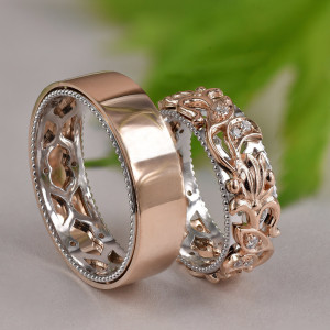 Matching Wedding Bands, Wedding Band Set His and Hers, His and Hers Rings, Gold Leaf Wedding Band, Vine Couples Ring Set