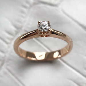 Heart Ring Gold, Simple Engagement Ring, Rose Gold Heart Ring, Promise Ring For Her, Diamond Heart Ring