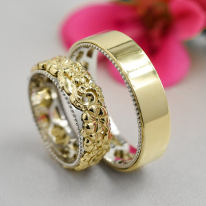 Delicate leaf vine flower ring, unique leaf and vine wedding band, artcarved wedding bands, yellow gold wedding bands set his and hers