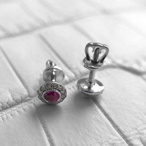Round Ruby Stud Earrings, Screw Back Circle Ruby Earrings, 14K Gold Ruby Diamond Studs, Gold Small Ruby Studs