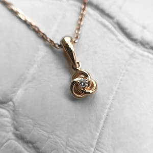 Celtic Knot Necklace, Diamond Knot Pendant, Love Knot Necklace, 14K Rose Gold Solitaire Diamond Necklace, Gift For Her